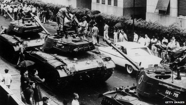 A street in Rio de Janeiro guarded by tanks a few hours after the escape to Uruguay of President Joao Goulart, ousted by a military coup in 1964