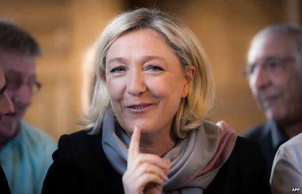 Marine Le Pen in Henin-Beaumont on 31 March