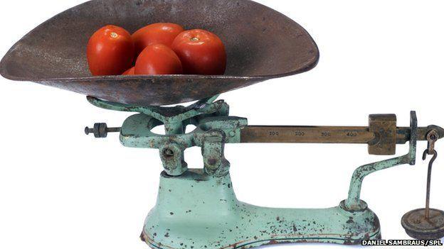 weighing veg