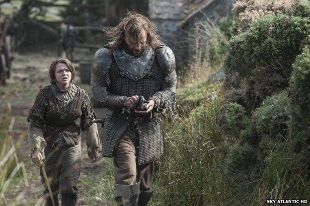 Arya Stark (Maisie Williams) and Sandor Clegane (Rory McCann)