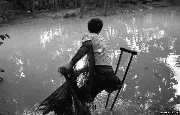 Man fishing in Cambodia, 1996