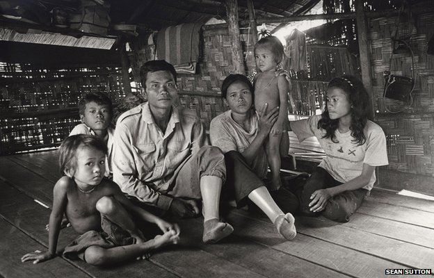 Family in the village of Chisang, Cambodia