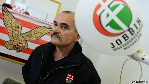 Istvan Meszaros, a candidate for the far-right Jobbik (Movement for a Better Hungary) party