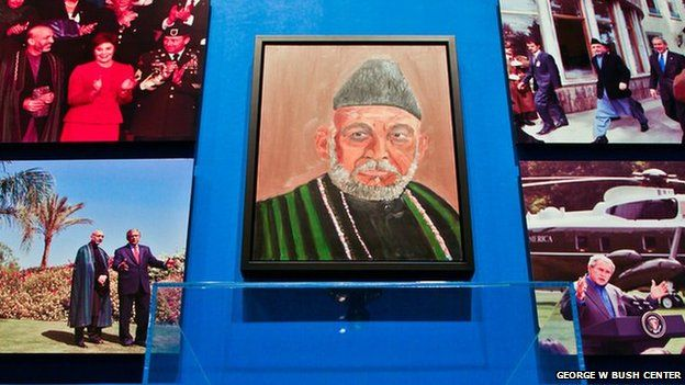 Painting of Afghan President Hamid Karzai by George W Bush
