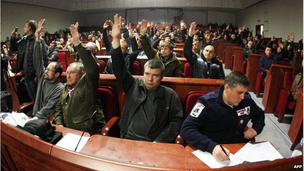 """Pro-Russia activists vote on the proposal to declare a new """"republic"""""""
