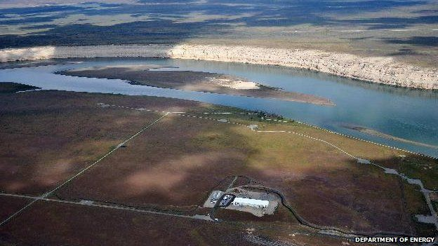 View of the Columbia River at the top of Hanford land