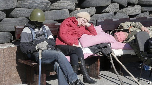 barricade in front of the regional administration building in Donetsk, Ukraine