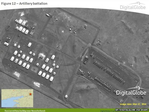Satellite image taken 27 March 2014, and provided by Supreme Headquarters Allied Powers Europe (SHAPE) on 9 April 2014, shows what is purported to be a Russian artillery battalion at a military base near Novocherkassk, east of the Sea of Azov in southern Russia.