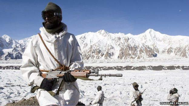 Indian soldiers are seen at the Forward Logistics Base.