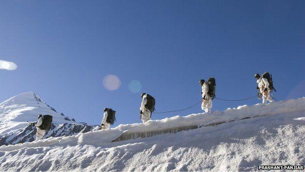 Indian soldiers patrol the Siachen glacier