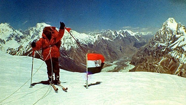 Indian army mountaineer on Indira Col above Siachen glacier