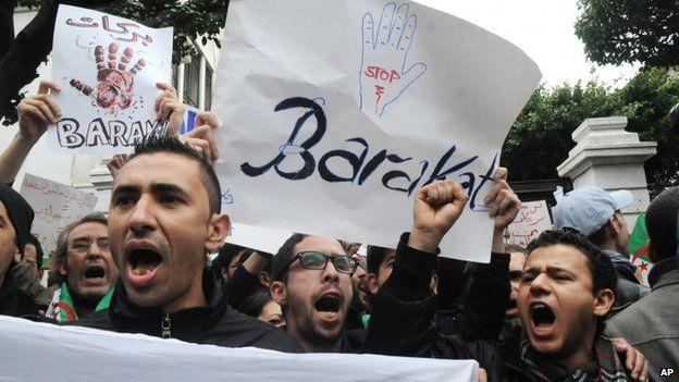 "Demonstrators from the ""Barakat!"" (""Enough"") group at a rally against Algerian President Abdelaziz Bouteflika"