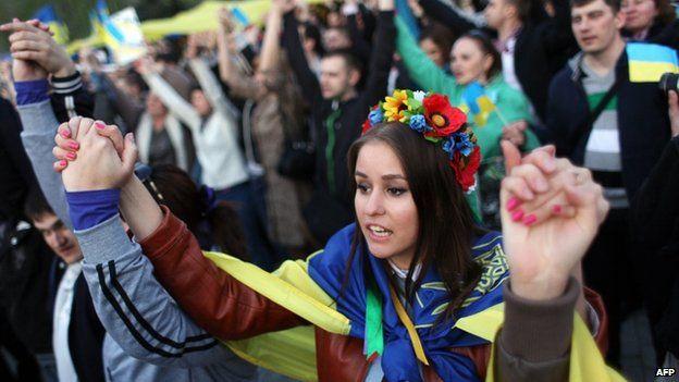 Pro-unity protest in Donetsk. 17 April 2014