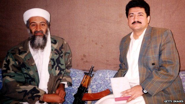 Osama bin Laden and Hamid Mir at an undisclosed location in Afghanistan (November 2011)