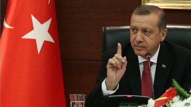 Turkish Prime Minister Recep Tayyip Erdogan speaks to the media in his office in Ankara, Turkey on 23 April 2014.