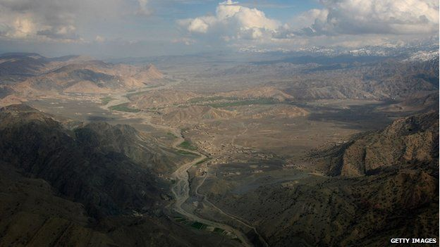 File photo: Pakistan's North Waziristan tribal area is seen from the air, 17 February 2007