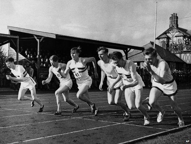Tom Hulatt (far left), Bannister (third from left), Chataway, (second from left), Brasher (second from right)