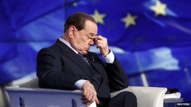Silvio Berlusconi on the set of a TV show on 24 April