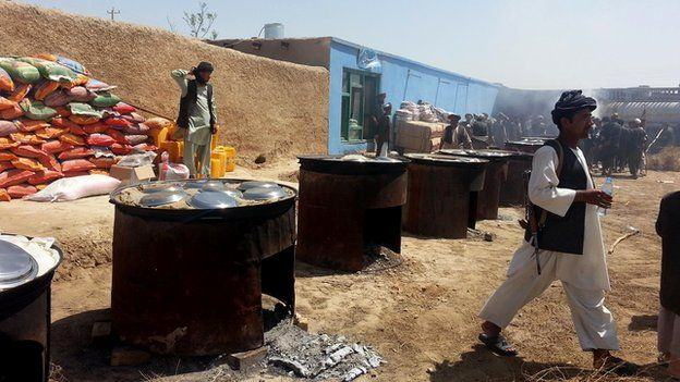 Portable ovens provide hot food for thousands of people displaced by the floods