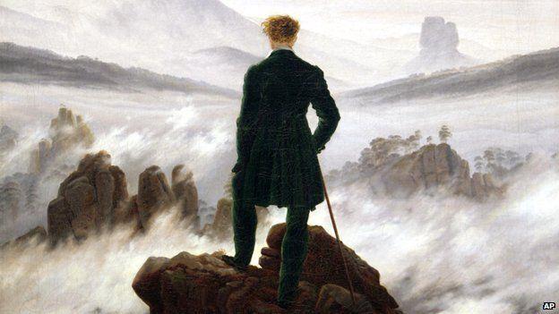 """Detail from Caspar David Friedrich's """"Wanderer above a sea of fog"""""""