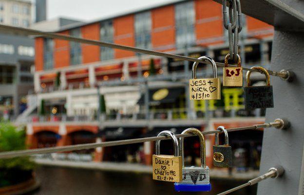Love locks near the Mailbox