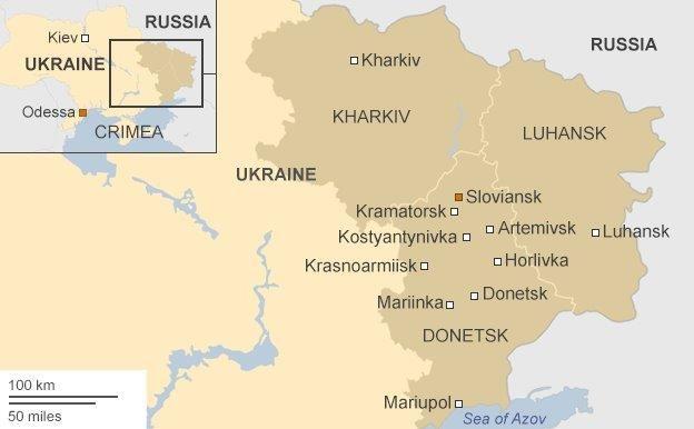 Map showing eastern Ukraine