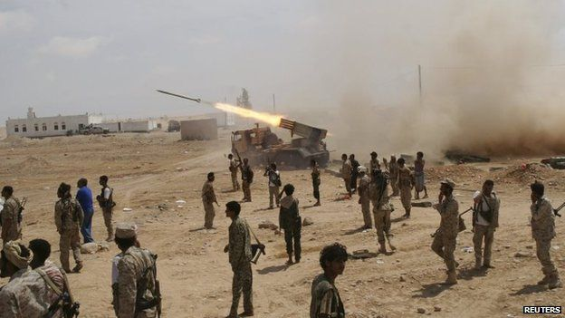 Yemeni army soldiers fire rockets at mountainous positions of al-Qaeda militants Maifaa, in the south-eastern province of Shabwa, Yemen, 4 May 2014