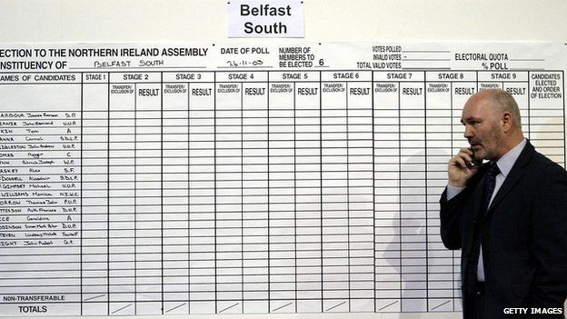 Sinn Fein candidate Alex Maskey waits for the result of the 2003 Northern Ireland Assembly election.