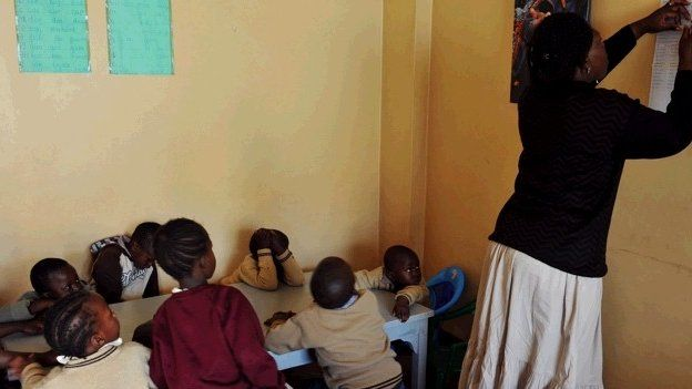 Teacher and pupils at a school in Kenya