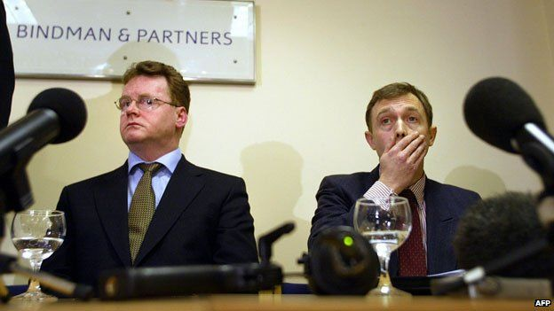 Sandy Mitchell (L) and William Sampson (R) listen during a press conference at Geoffrey Bindman's office, a human rights lawyer in London 26 February 2004. The pair were among seven British expatriates who were detained and tortured while in custody in a Saudi Arabian jail following a car bombing. Mitchell and Sampson were sentenced to execution by crucifixion after they were forced to make false confessions.