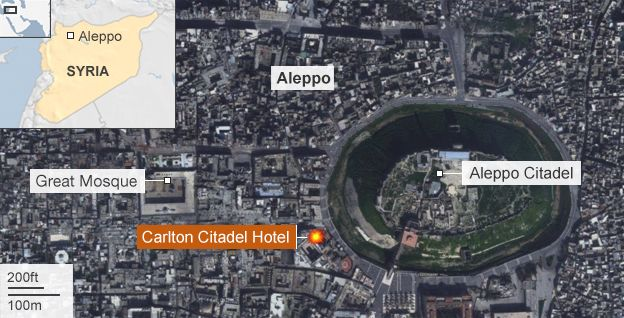Map showing site of Carlton Citadel Hotel in Aleppo