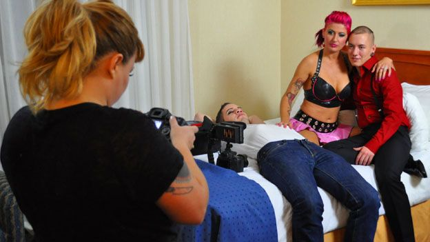 Courtney Trouble, Wolf Hudson, Zahra Stardust and James Darling prepare to shoot some porno