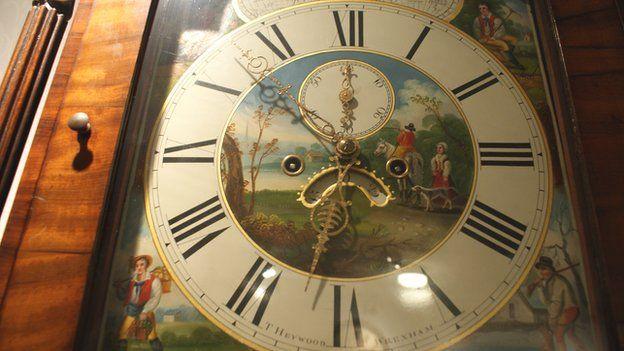 T Heywood clock face