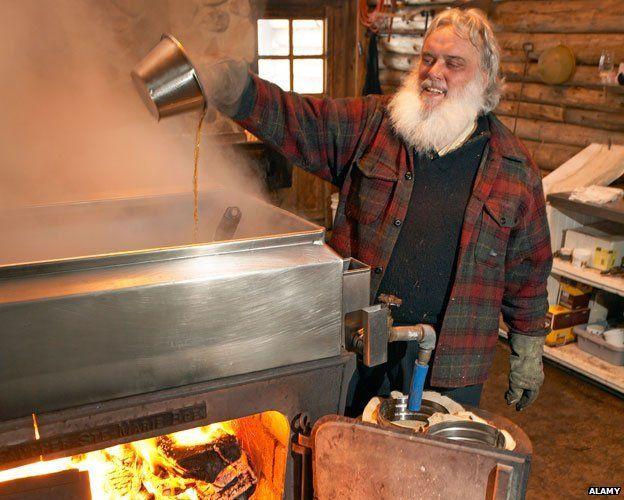 "Pierre Faucher in his ""sugar shack"""