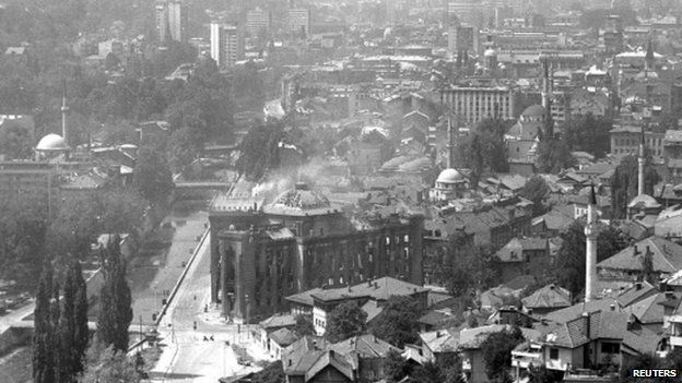 The City Hall after shelling in 1992