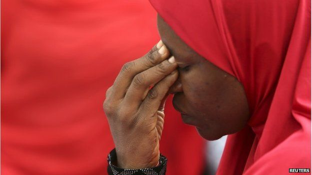 A woman takes part in a protest for the release of the abducted secondary school girls in the remote village of Chibok, during a sit-in protest at the Unity fountain Abuja, May 12