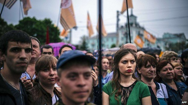 Pro-Russia rally after referendum in eastern Ukrainian city of Luhansk. 12 May 2014