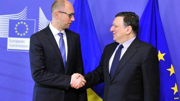 Arseniy Yatsenyuk meets European Commission President Jose Manuel Barroso in Brussels - 13 May