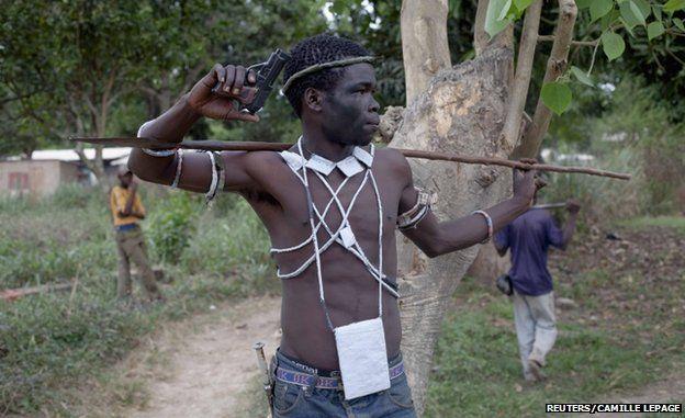 An anti-balaka Christian militiaman on patrol in an area of Bangui in February