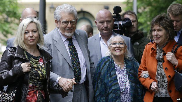 Rolf Harris arrives at court with his daughter Bindi and wife Alwen Hughes