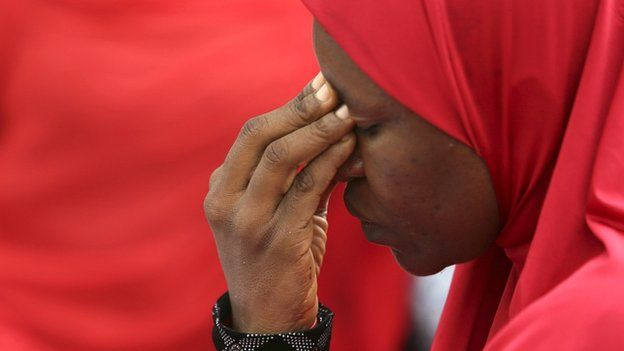 Woman at protest over abducted schoolgirls