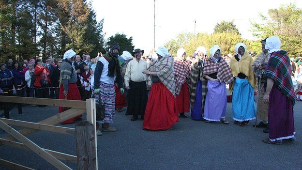 People dressed as rioters for the anniversary celebrations
