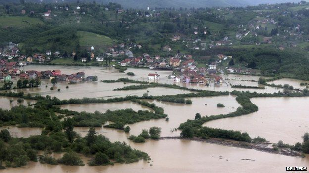 An aerial view of the flooded suburb of Sarajevo on 15 May 2014.