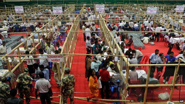 Vote counting in Gauhati, India, on 16 May 2014