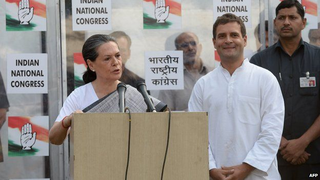 Sonia and Rahul Gandhi accepting defeat on 16 May 2014