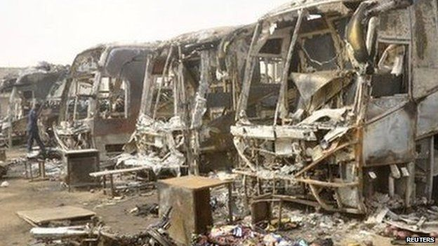 Scene of a suspected Boko Haram suicide attack on a bus stop in the city of Kano in March 2013