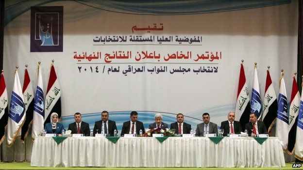 Officials from the Independent High Electoral Commission (IHEC) of Iraq announce the results of last month's elections (19 May 2014)