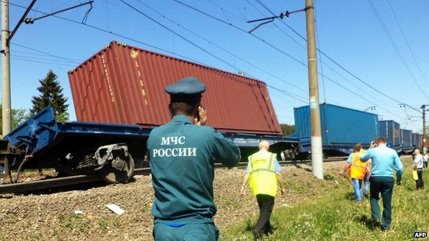 A handout photo shows the site of a collision of freight and passenger trains at the Bekasovo railway station