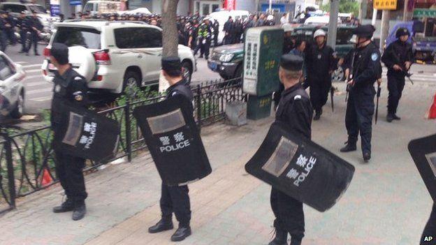 Police at scene of attack in Urumqi - 22 May