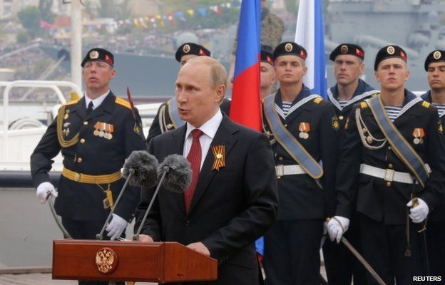Russian President Vladimir Putin delivers a speech during events marking Victory Day in Sevastopol May 9, 2014.